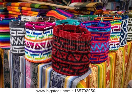 indigenous knitted bags in the artisan market