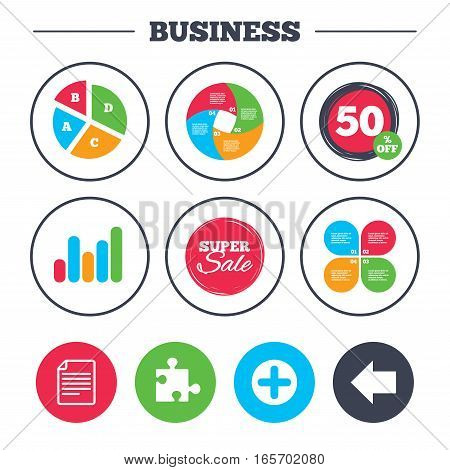 Business pie chart. Growth graph. Plus add circle and puzzle piece icons. Document file and back arrow sign symbols. Super sale and discount buttons. Vector