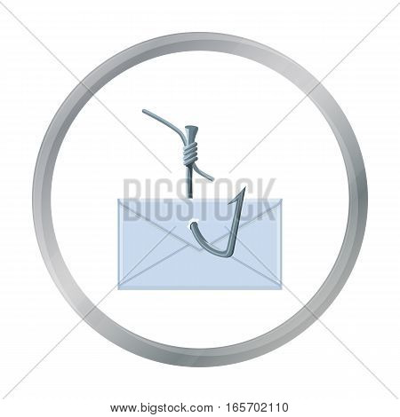 Hooked e-mail icon in cartoon design isolated on white background. Hackers and hacking symbol stock vector illustration.
