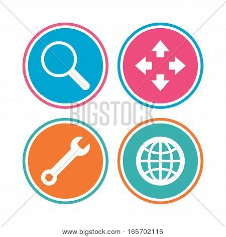 Magnifier glass and globe search icons. Fullscreen arrows and wrench key repair sign symbols. Colored circle buttons. Vector