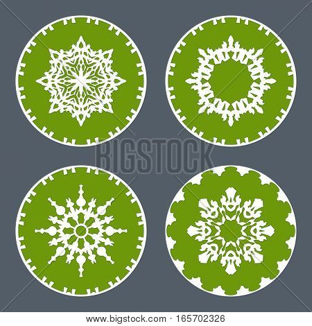 Christmas snowflake icon set. Ornamental view snow signs. Winter, New Year, holiday symbol. White green silhouette on gray background. Vector isolated