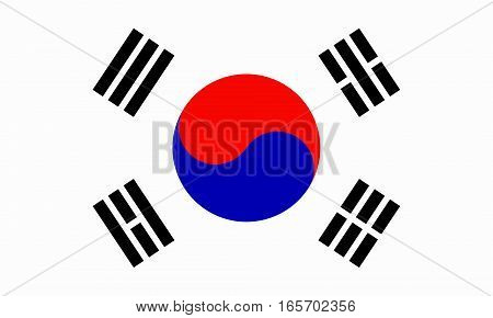 flat south korean flag  in the colors blue, red, black and white