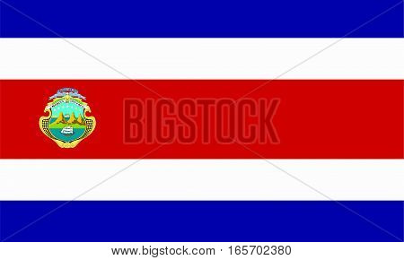 flat costa rican flag in the colors blue, red and white