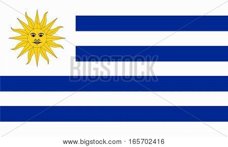 flat uruguayan flag in the colors blue, yellow and white