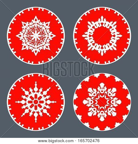Christmas snowflake icon set. Ornamental view snow signs. Winter, New Year, holiday symbol. White red silhouette on gray background. Vector isolated