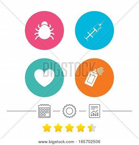 Bug and vaccine syringe injection icons. Heart and spray can sign symbols. Calendar, cogwheel and report linear icons. Star vote ranking. Vector