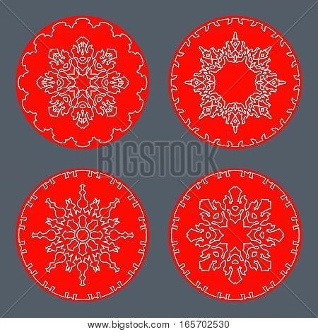 Christmas snowflake icon set. Thin line signs. Ornamental lace view buttons. Winter, New Year, holiday symbol. White red silhouette on gray background. Vector isolated