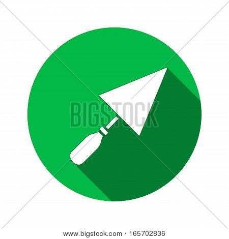 Tool icon. Spattle, surfacer, plastering instrument. Work, job, labour, toil, repair, building symbol. White sign on round green button with long shadow. Vector isolated