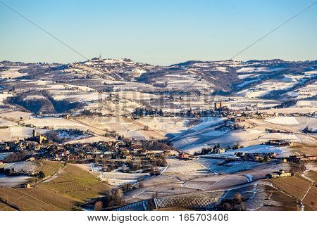 Castles and mountains in northern italy langhe region piedmont