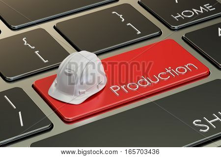 Production concept on keyboard button 3D rendering