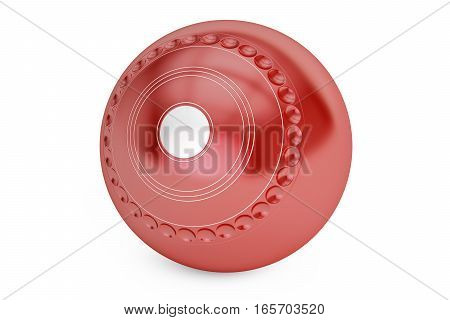Red Lawn Bowling ball closeup 3D rendering isolated on white background