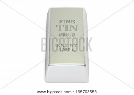 Tin ingot 3D rendering isolated on white background