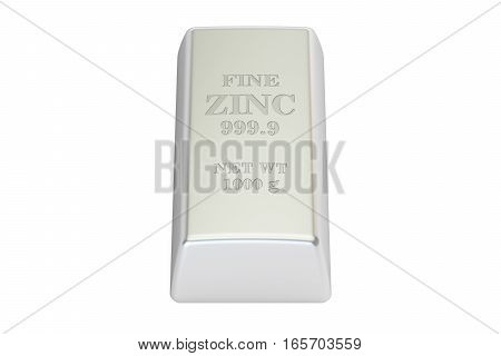 Zinc ingot 3D rendering isolated on white background