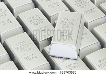 Zinc bars background 3D rendering isolated on white background