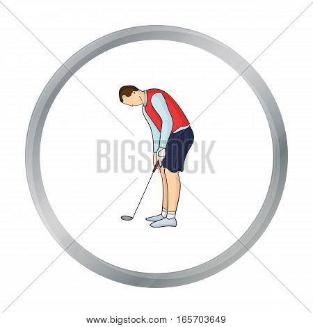Golfer before kick icon in cartoon style isolated on white background. Golf club symbol vector illustration.