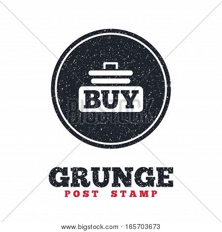 Grunge post stamp. Circle banner or label. Buy sign icon. Online buying cart button. Dirty textured web button. Vector