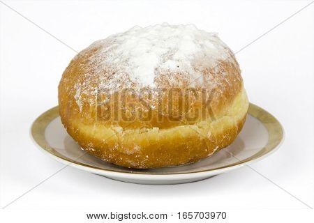 Fresh european donut on a white background berliner