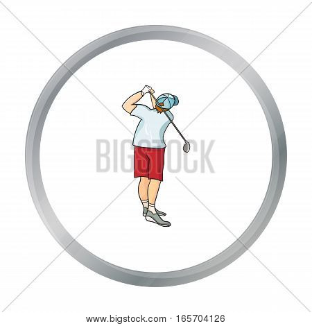 Golfer after kick icon in cartoon style isolated on white background. Golf club symbol vector illustration.