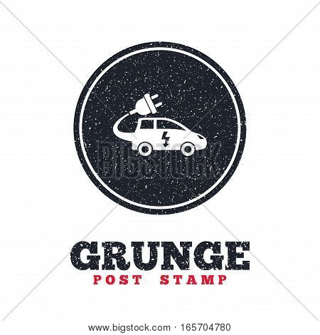 Grunge post stamp. Circle banner or label. Electric car sign icon. Hatchback symbol. Electric vehicle transport. Dirty textured web button. Vector