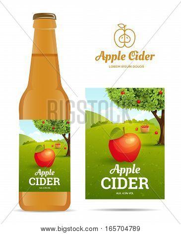 Design sticker bottle of apple cider. Vector illustration apple orchard for package.