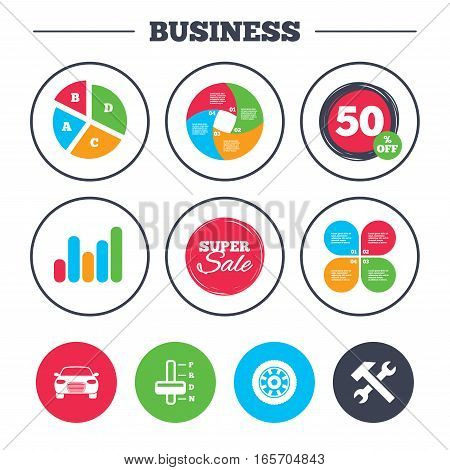 Business pie chart. Growth graph. Transport icons. Car tachometer and automatic transmission symbols. Repair service tool with wheel sign. Super sale and discount buttons. Vector