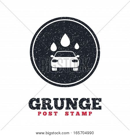 Grunge post stamp. Circle banner or label. Car wash icon. Automated teller carwash symbol. Water drops signs. Dirty textured web button. Vector