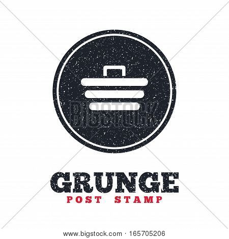 Grunge post stamp. Circle banner or label. Shopping Cart sign icon. Online buying button. Dirty textured web button. Vector