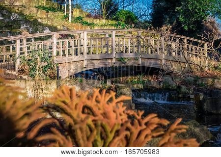 Wooden bridge in front of a small artificial waterfall in Regents Park, London