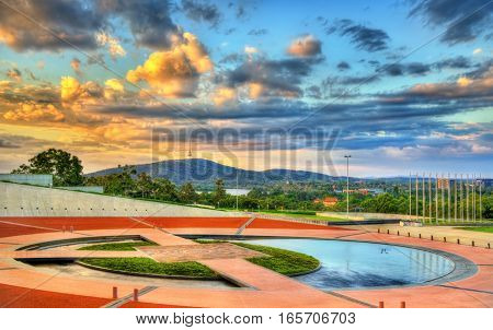 Reflection pond at Parliament House in Canberra, the capital of Australia