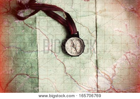 Wanderlust And Explore Concept, Compass On Map, Top View, Vintage Toned Image, Space For Text