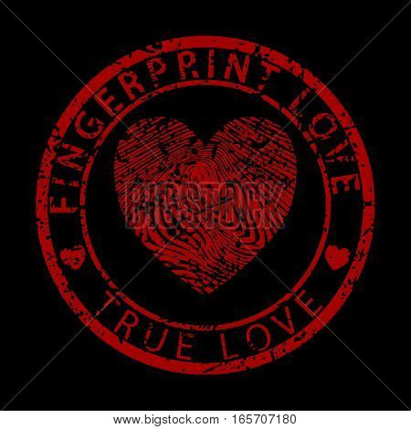 Illustration fingerprint heart as love on a black background.