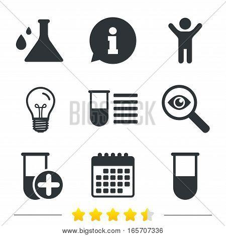 Chemistry bulb with drops icon. Medical test signs. Laboratory equipment symbols. Information, light bulb and calendar icons. Investigate magnifier. Vector