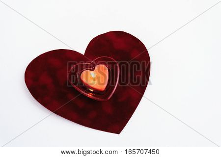 Heart Red Candle On Velvet Isolated On White Background, Valentine Greeting Card Concept