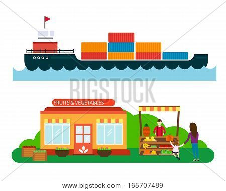 Street seller with stall with fruits and vegetables vector illustration. Supermarket stand with healthy organic food. Produce business retail store. Ship cargo sea transportation.