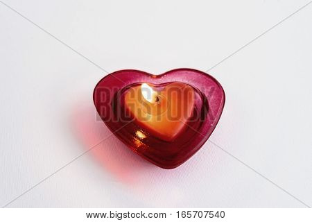 Heart Red Candle Isolated On White Background, Valentine Greeting Card Concept