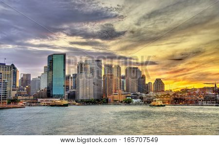 Skyscrapers of the Sydney central business district in the evening - Australia, New South Wales