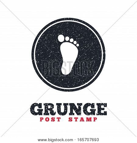 Grunge post stamp. Circle banner or label. Child footprint sign icon. Toddler barefoot symbol. Dirty textured web button. Vector
