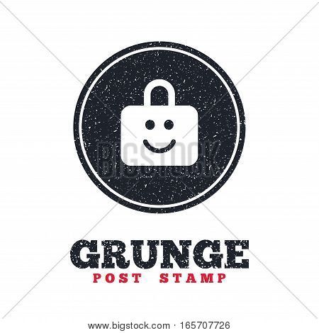 Grunge post stamp. Circle banner or label. Child lock icon. Locker with smile symbol. Child protection. Dirty textured web button. Vector