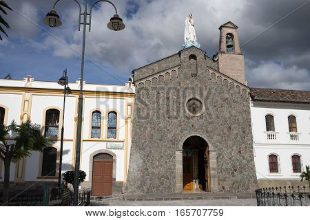 architectural details  of the colonial San Francisco church in Ibarra Ecuador