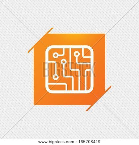 Circuit board sign icon. Technology scheme square symbol. Orange square label on pattern. Vector