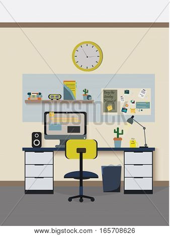 Modern workplace room Vector illustration. Creative office workspace. Flat minimalistic style