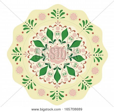 Vector round flowers pattern background. Floral ornament for fabric print, furniture, wallpaper, fashionable textile, greeting card. Luxury interior boho design element