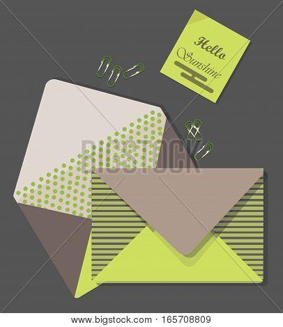Mail Letters retro envelop on grey backgroundVector