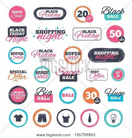 Sale shopping stickers and banners. Clothes icons. T-shirt and bermuda shorts signs. Business tie symbol. Website badges. Black friday. Vector