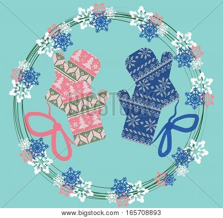 Winter ornamented gloves in a floral wreath. Vector Christmas greeting card. Vintage Pastel blue and pink colors