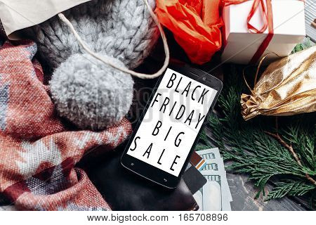 Black Friday Big Sale. Special Christmas Offer Discount Text On Mobile Phone Screen Message On Seaso