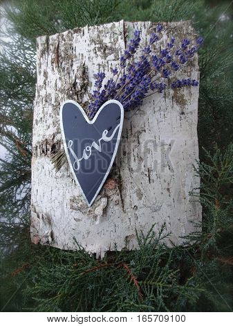 A black heart with the word, Love, handwritten in silver ink creates the focal point of this natural arrangement with birchbark and lavender flowers.  Copy space, Vertical