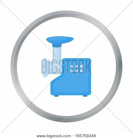 Electical meat grinder icon in cartoon style isolated on white background. Household appliance symbol vector illustration.
