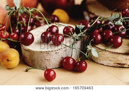 Delicious Cherry And Fruits On Wooden Background, Rustic Summer Concept, Colorful Wallpaper