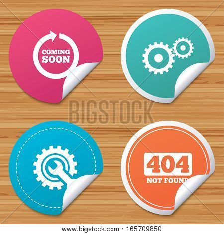 Round stickers or website banners. Coming soon rotate arrow icon. Repair service tool and gear symbols. Wrench sign. 404 Not found. Circle badges with bended corner. Vector